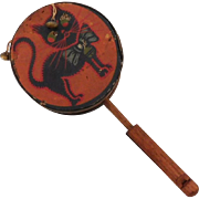Halloween Drum Shaker with Black Cat Noisemaker with bells & horn/whistle handle – Germany 1930s