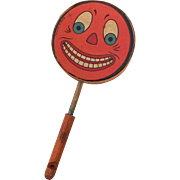 Jack O' Lantern clown Face Halloween Drum Shaker Noisemaker with horn/whistle handle Germany 1930s