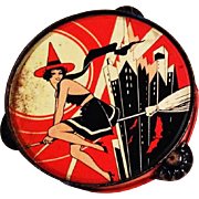 Rare Sexy flying witch Art Deco metal tambourine noisemaker Halloween decoration T Cohn Company 1930's