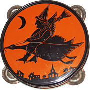 Scary Witch flying her Goose tin Tambourine noisemaker Halloween decoration J. Chein USA 1920's