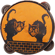 Scary Black Cats on a wall tin Tambourine noisemaker Halloween decoration J. Chein USA 1920's