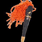 Halloween decoration – Cardboard wood tip black horn with fringe 1950s - Red Tag Sale Item