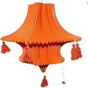 Large size orange Halloween elegant paper lantern 1930's Germany