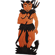 Large vintage German die cut embossed Halloween decoration – Devil with flames at bottom fair condition