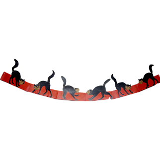 Rare Halloween Garland - Howling Cats with movable tails wall garland decoration 1933 Beistle Company no mark