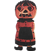 German die cut embossed Jack O Lantern Maid with bangs and diamond eyes Halloween decoration