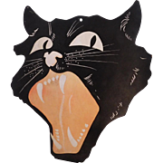 Huge and  Rare Snarling Cat Face Halloween decoration 1927 Dennison Company