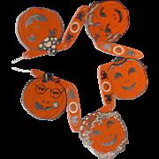 Original Halloween Jack O Lantern decoration banner & descriptive card Halloween decoration Beistle Company 1940's