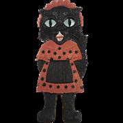 Large vintage German die cut embossed Black Cat Maid Halloween decoration
