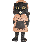 Large vintage German die cut embossed Black Cat Maid Halloween decoration