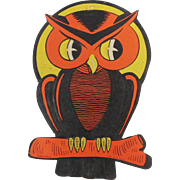 Vintage Halloween decoration spooky Owl made in USA Beistle Company