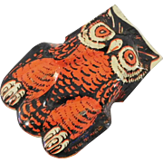 Vintage tin lithographed Owl Noisemaker Halloween Decoration U.S. Metal Toy Mfg. Company 1950's