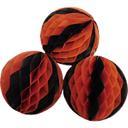 Vintage crepe paper/honeycomb orange & black ball Halloween Decoration Spooky fun!
