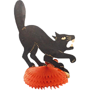 Snarling Cat centerpiece on honeycomb base Beistle Company H.E. Luhrs mark 1941 - 1948