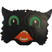 Scary Cat face Halloween decoration Beistle Company 1950 - 1965
