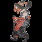 Large vintage German die cut embossed Halloween decoration – Walking Witch