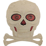 Skull & Crossbones with red transparency Halloween decoration Germany 1930's