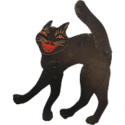 Large poseable scary Black Cat cardboard Halloween decoration Beistle Company USA 1930's