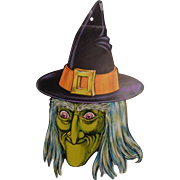 Scary green faced Witch cardboard Halloween decoration Beistle Company 1970's
