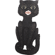 Large size Scary sitting Black Cat cardboard Halloween decoration German 1920's