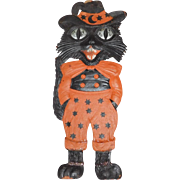 Large size Dapper Black Cat cardboard Halloween decoration German 1920's