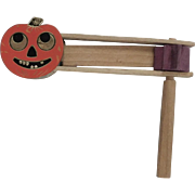 Smaller size Jack O Lantern face wooden clapper noisemaker for Halloween