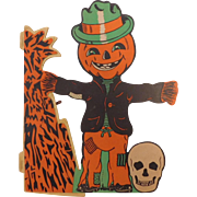 Jack O Lantern head Scarecrow  - Halloween Table centerpiece decoration Beistle Company 1960's