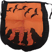 Vintage Crepe Paper Apron Jack O Lantern Halloween decoration, Black cats and bats USA Dennison Company 1920's Rare