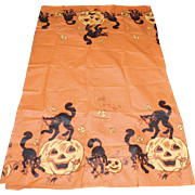Vintage Reeds Halloween paper table cover depicting scary black cats & Jack O Lantern pumpkins Halloween decoration 1930's -1940's