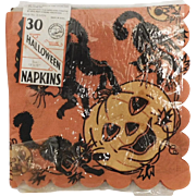 Vintage four Reeds Halloween paper napkins scary black cats & Jack O Lantern pumpkins Halloween decoration 1930's -1940's