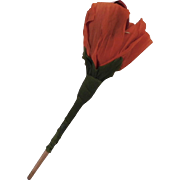 Whimsical orange/red paper blow out Rose flower Halloween Costume decoration 1930's