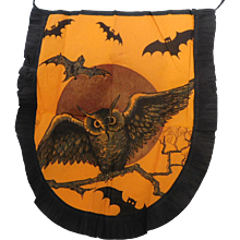 Vintage crepe paper Apron with Flying Owl & Bats overhead Halloween decoration, USA Dennison Company 1920's Rare