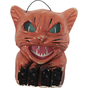 Halloween decoration pulp Paper Mache Cat on fence Jack O Lantern USA