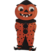 Large Halloween decoration Jack O' Lantern Clown Man with star covered costume heavily embossed cardboard die cut – Germany 1920s