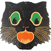Large cardboard cat face Halloween decoration 1930's Beistle Co. USA