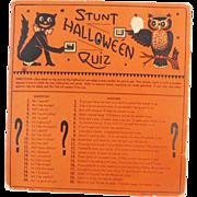 """Stunt Halloween Quiz"" Halloween game USA Beistle, HE Luhrs mark 1940's"