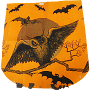 Crepe paper apron depicting an Owl in front of the moon with bats flying USA made Dennison Company 1922 – 1935