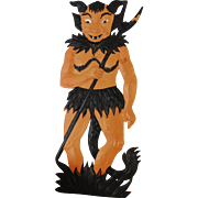 Large vintage German die cut embossed Halloween decoration Devil in the grass