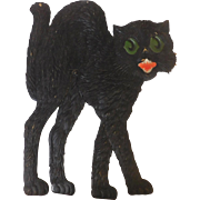 Large vintage German die cut embossed Halloween decoration Arched back cat