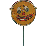Jack O' Lantern Face Halloween Drum Shaker Noisemaker with bells – Germany 1920's