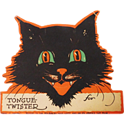 Halloween party decoration cat Tongue Twister place card game Gibson Art 1928