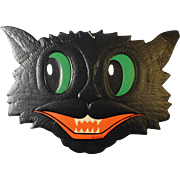Large cardboard cat face Halloween decoration H E Luhrs 1950's Beistle Co. USA