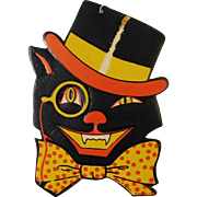 Cat wearing Hat & Monocle cardboard Halloween decoration H E Luhrs 1950's Beistle Co. USA