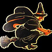 Halloween decoration Huge Fierce-faced Witch on Broom cardboard die cut American Merri Lei Corporation 1950's Brooklyn NY