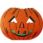 Large size Halloween decoration - Dual sided Jack O Lantern Pumpkin Face slot and tab lantern USA Fibro Toy by Dolly Toy Company 1935 – 1950