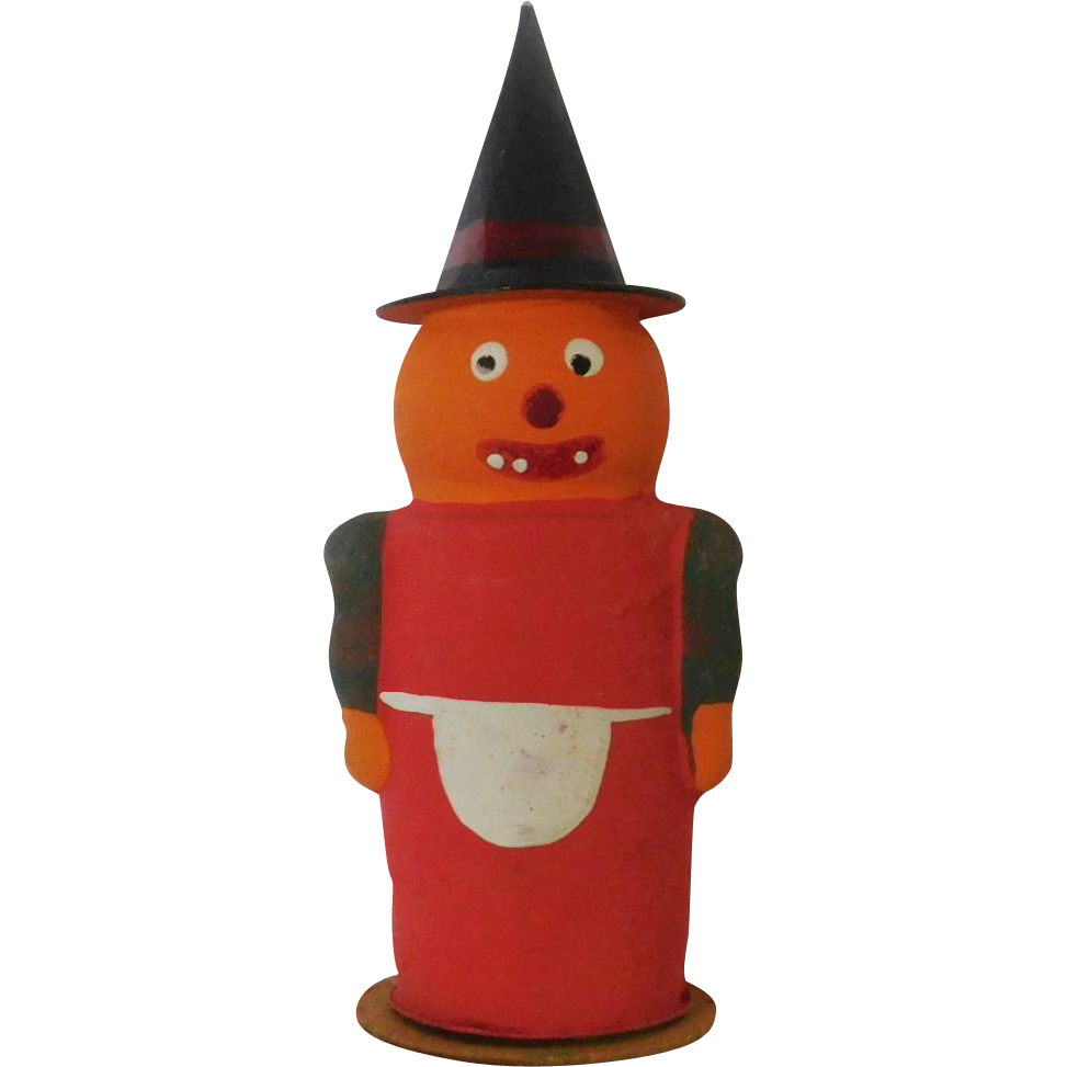 Vintage Halloween decoration Anthropomorphic Pumpkin Jack O Lantern Head Witch candy container Germany