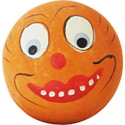 Vintage Small size Anthropomorphic Pumpkin Jack O Lantern Head candy container Halloween decoration made in  Germany