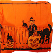 Vintage crepe paper banner Halloween decoration with Scarecrow Jack O Lantern & Cats 1920's
