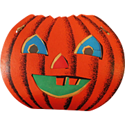 Large size Halloween decoration - Dual sided Jack O Lantern Pumpkin Face slot and tab lantern USA Dolly Toy Company 1950's