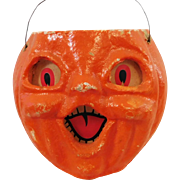 Halloween decoration pulp Paper Mache Smaller Choir Jack O Lantern Made in the USA 1940's